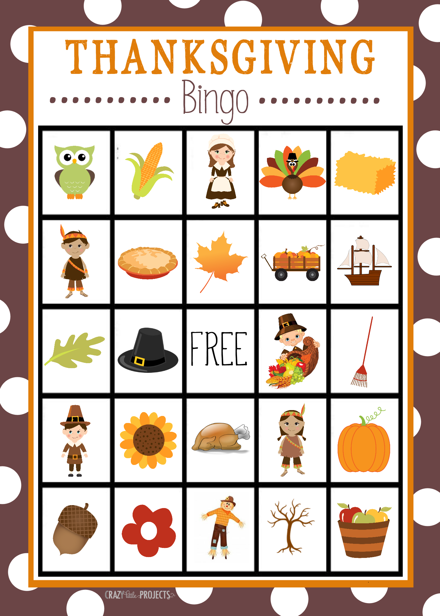 Free printable thanksgiving bingo game crazy little projects thanksgiving bingo cards all you need to do solutioingenieria Images