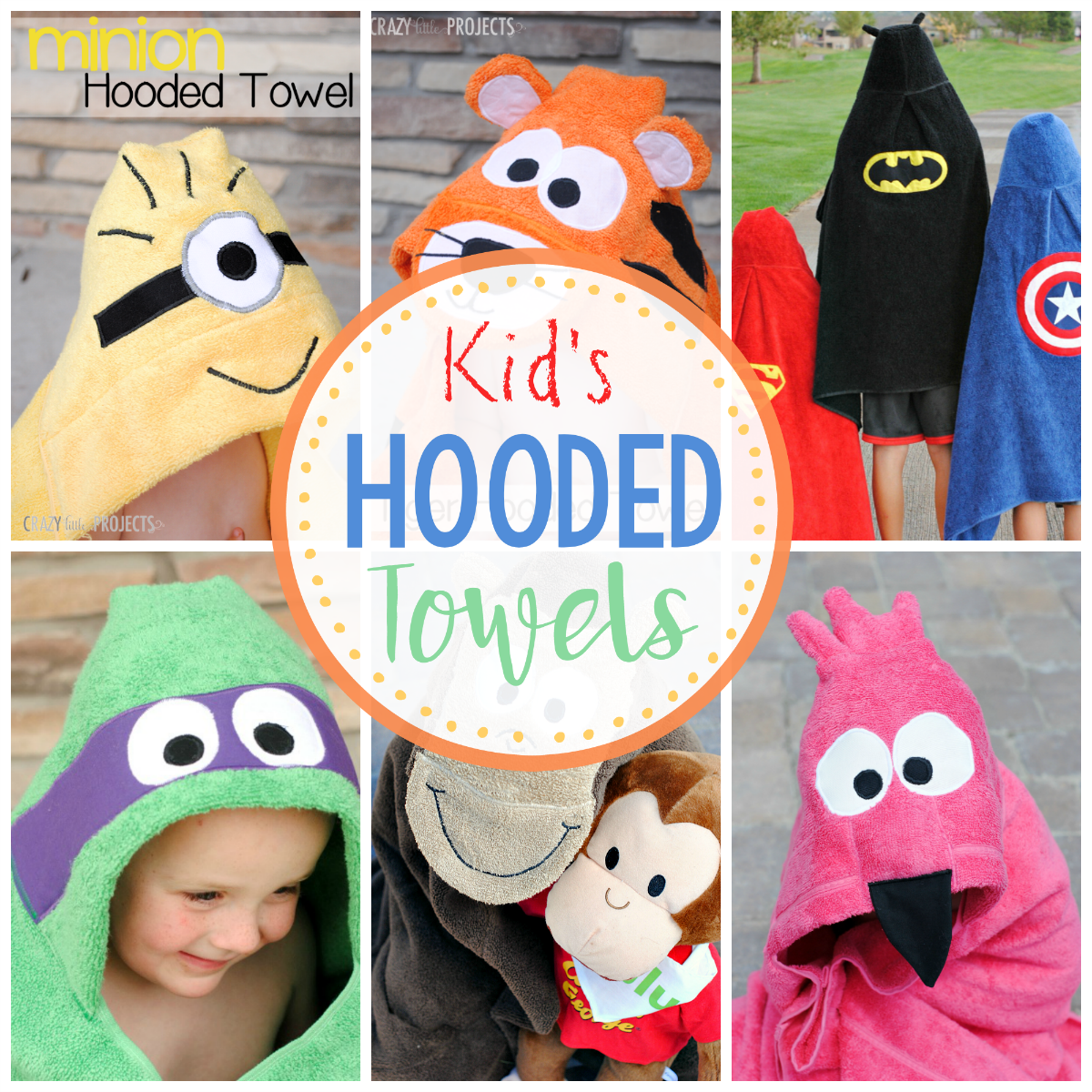 Children's Hooded Bath Towels-Patterns to sew all these cute kids towels (and more). Animals and favorite kids characters in a great hooded towel pattern. Makes a great gift! #bathtowels #hoodedtowels #sewing #sewingpatterns #sew #patterns #kids #forkids