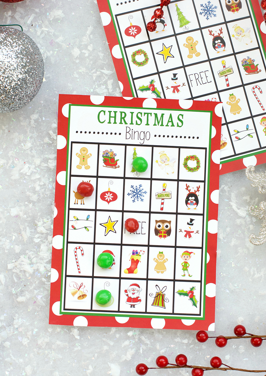 free printable christmas bingo game fun squared