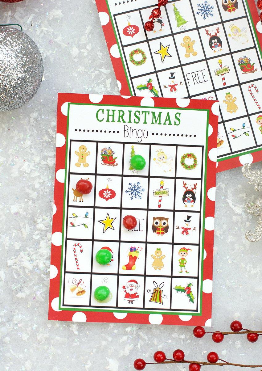 Divine image within printable christmas bingo game