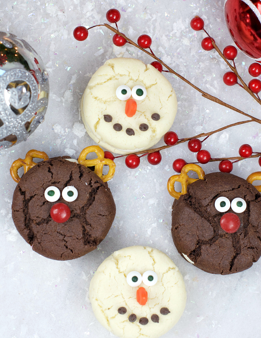 Easy Reindeer and Snowman Cookies for Kids