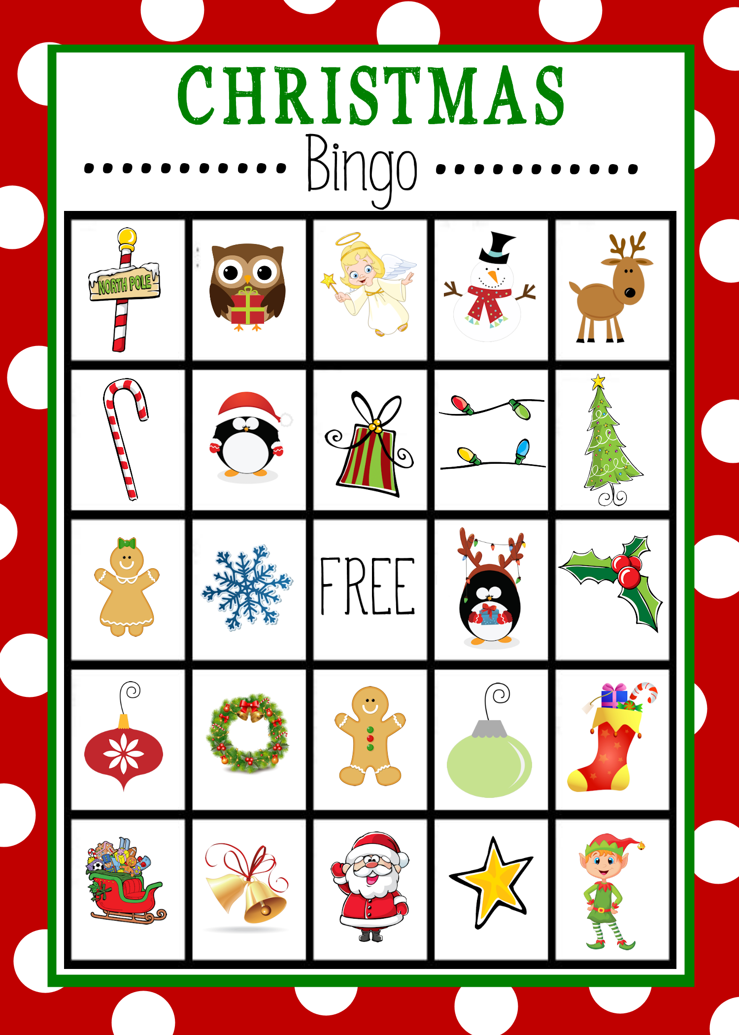 Impertinent image for christmas bingo printable