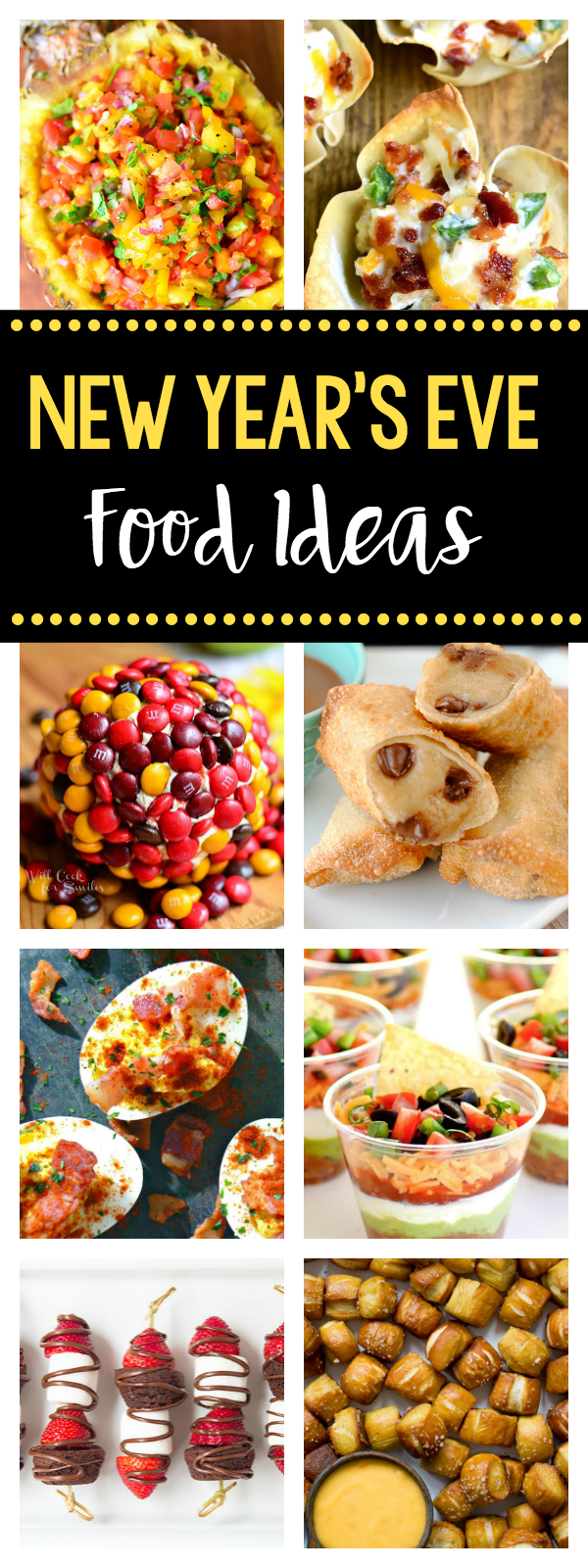 New Years Eve Finger Foods-Great food ideas for New Year's Eve Parties-Everything from salty to sweet. #newyearseve #appetizers
