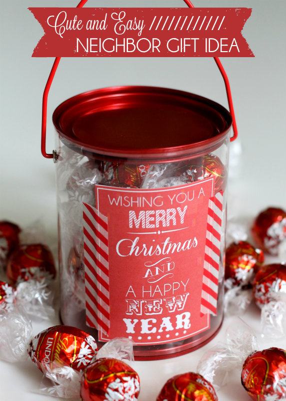 Super-cute-and-easy-Neighbor-Gift-idea-with- - 25 Fun & Simple Gifts For Neighbors This Christmas
