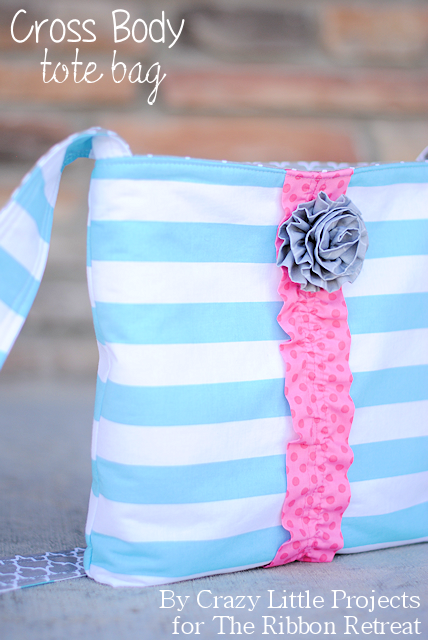 Cross Body Tote Tutorial by Crazy Little Projects for The Ribbon Retreat