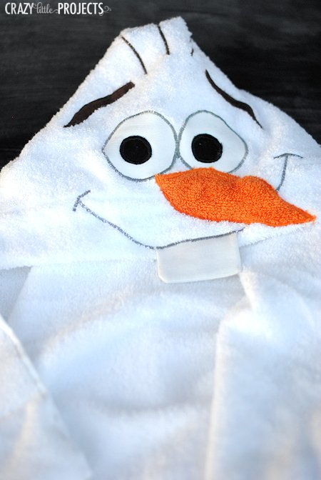 Olaf the Snowman Hooded Towel-A fun pattern to sew for kids!