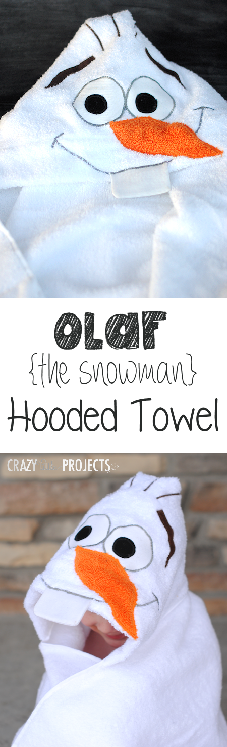 Olaf the Snowman Hooded Towel Tutorial and Pattern