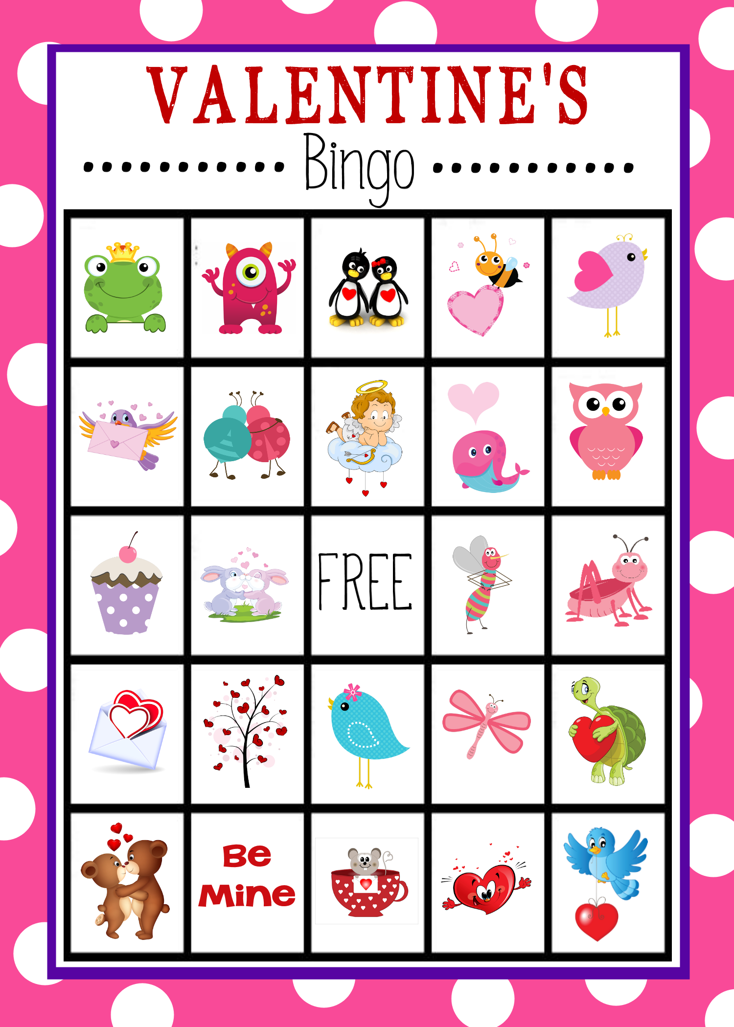 Impertinent image intended for printable valentines bingo cards