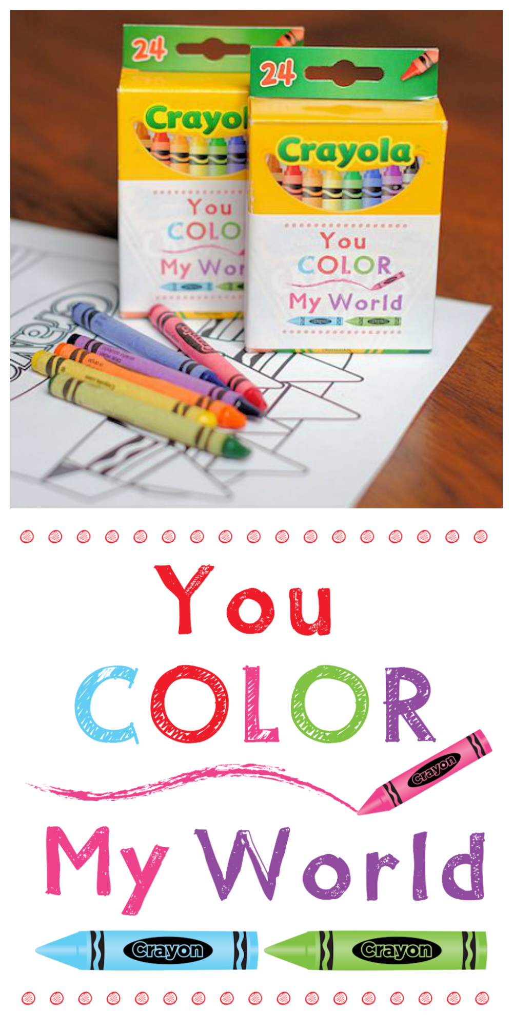 Creative Valentine Idea to Give the Kids or to pass out in class. Wrap this cute Color My World tag around a box of crayons and you've got a simple and fun Valentine Idea! #valentinesday #valentine #valentinesgift
