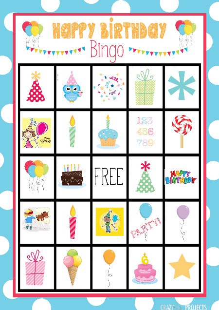 Birthday Bingo Game Boards