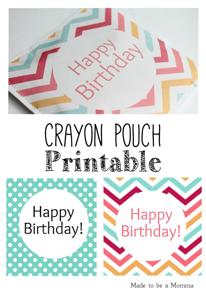 Crayon Favor Pouch Printable