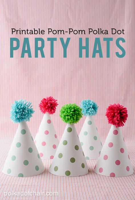 Printable Pom Pom Party Hats