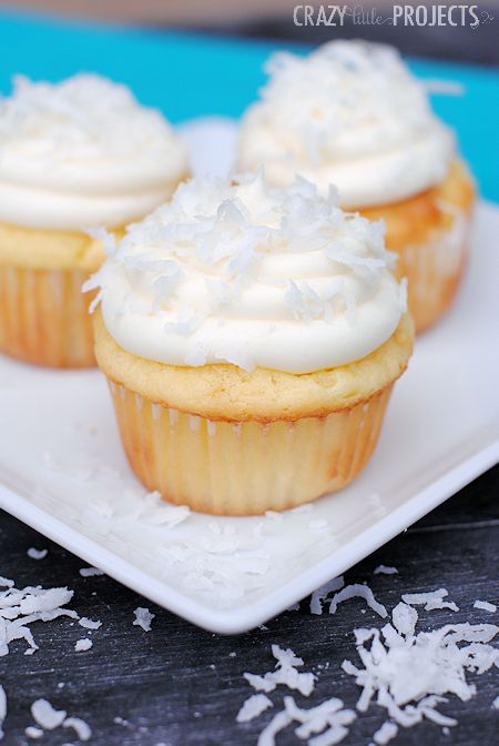 Coconut Cupcakes with Cream Cheese Frosting-So soft and moist and amazing!