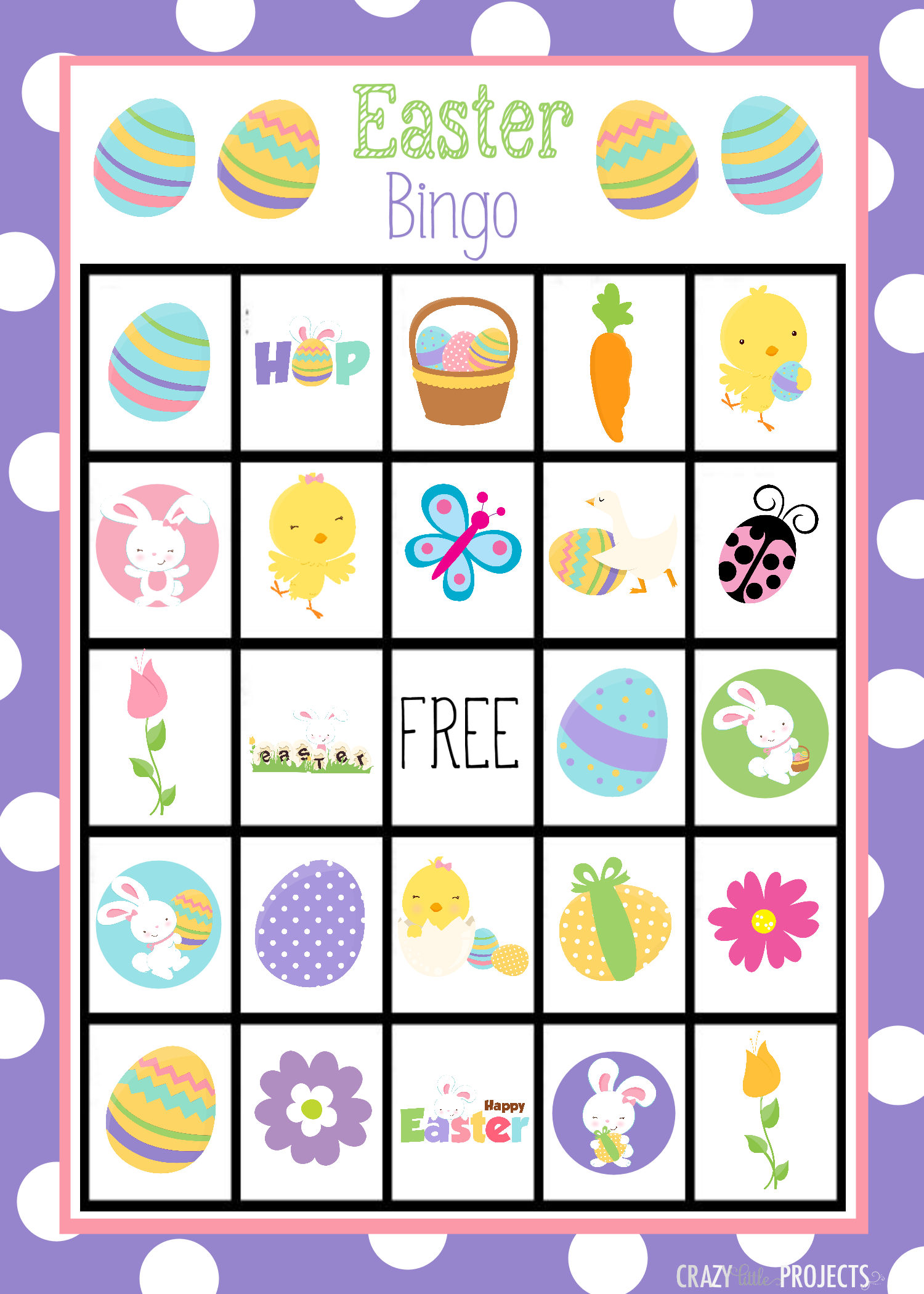 Printable Easter Bingo Game For Kids Crazy Little Projects