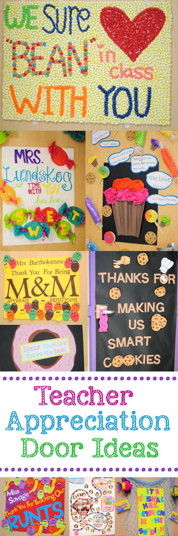 Lots of Teacher Appreciation Door Decorating Ideas
