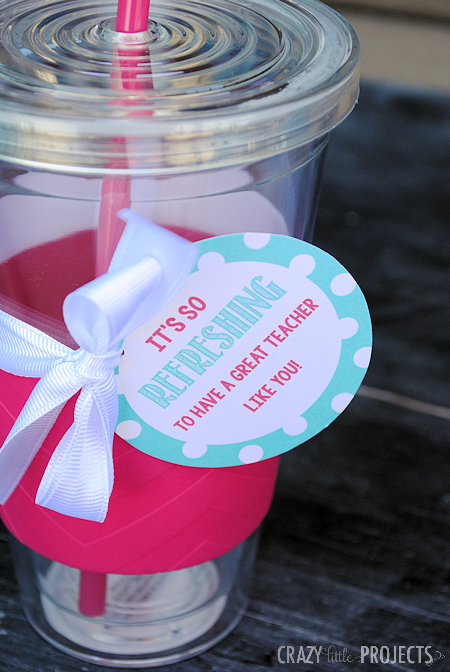 Teacher Appreciation Ideas-Drink cup and gift tag for teacher
