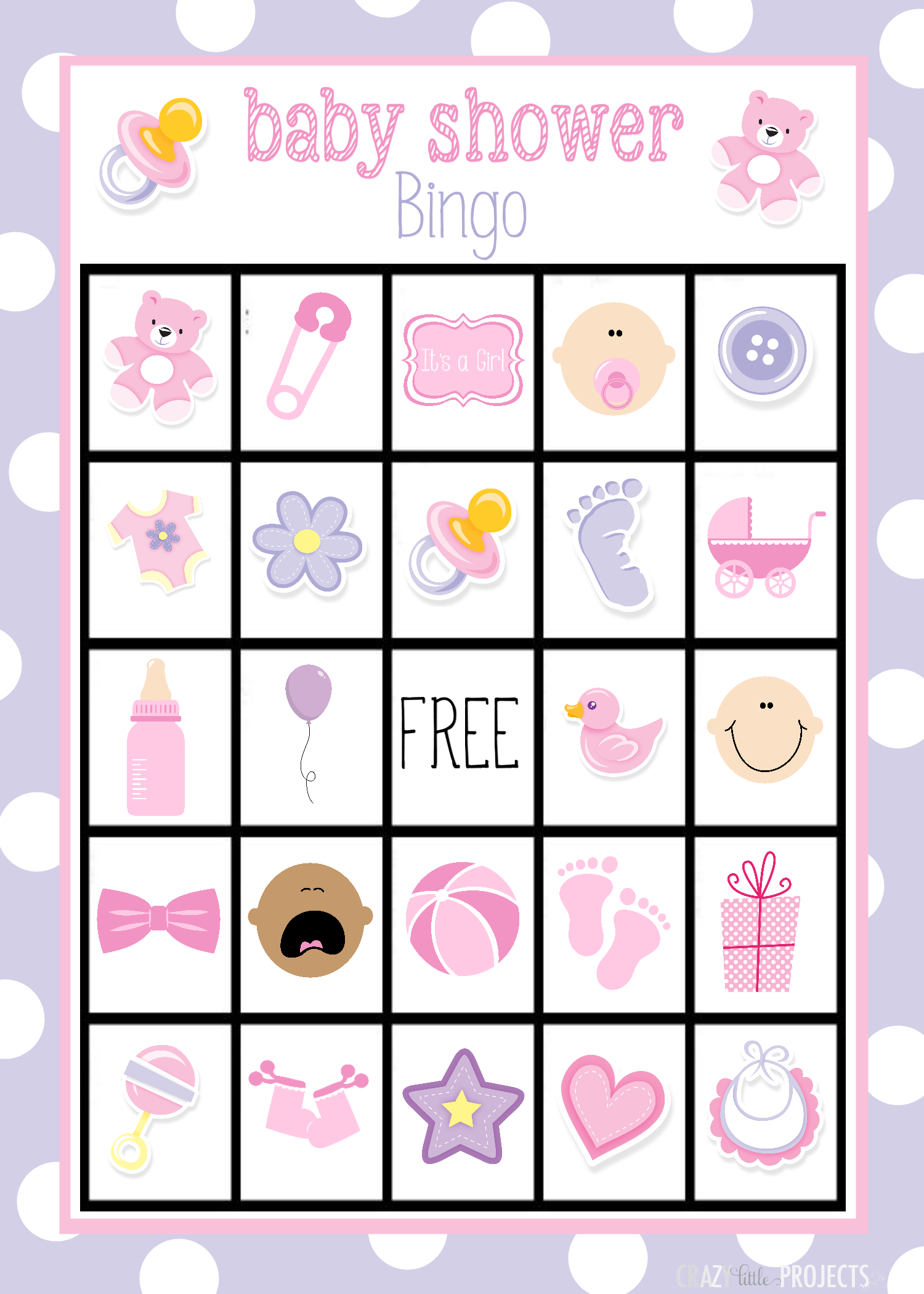 This is a graphic of Juicy Printable Baby Bingo Cards