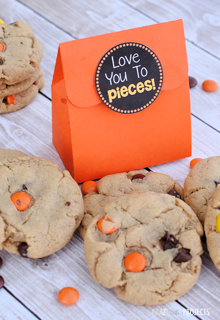Love you to Pieces Free Printable Tag and Reese's Cookie Recipe-package them together for a cute and easy gift