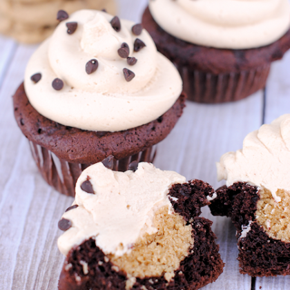 Peanut Butter Cookie Dough Cupcakes