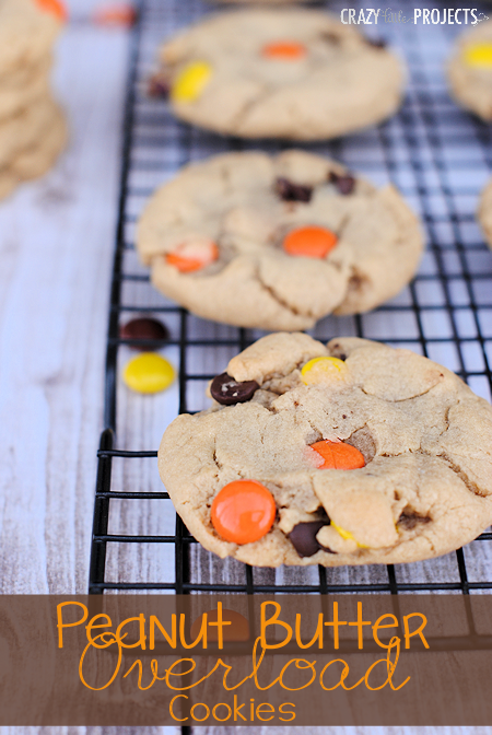 The softest, chewiest Peanut Butter Cookies with Reese's Pieces and Chocolate Chips baked right inside!