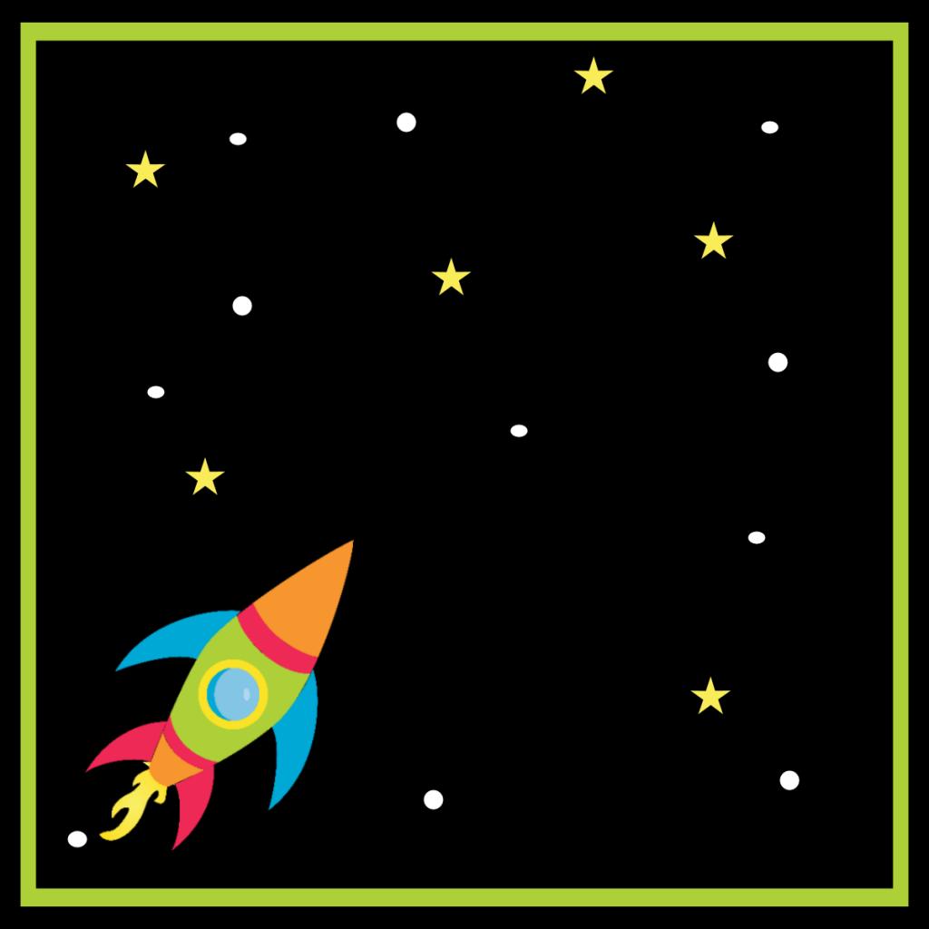 Spacebirthdayfoldablelabelrocket