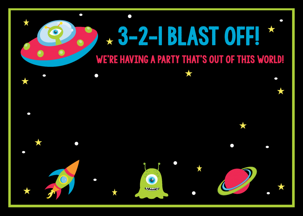 Space themed birthday invitations (Free Printable)
