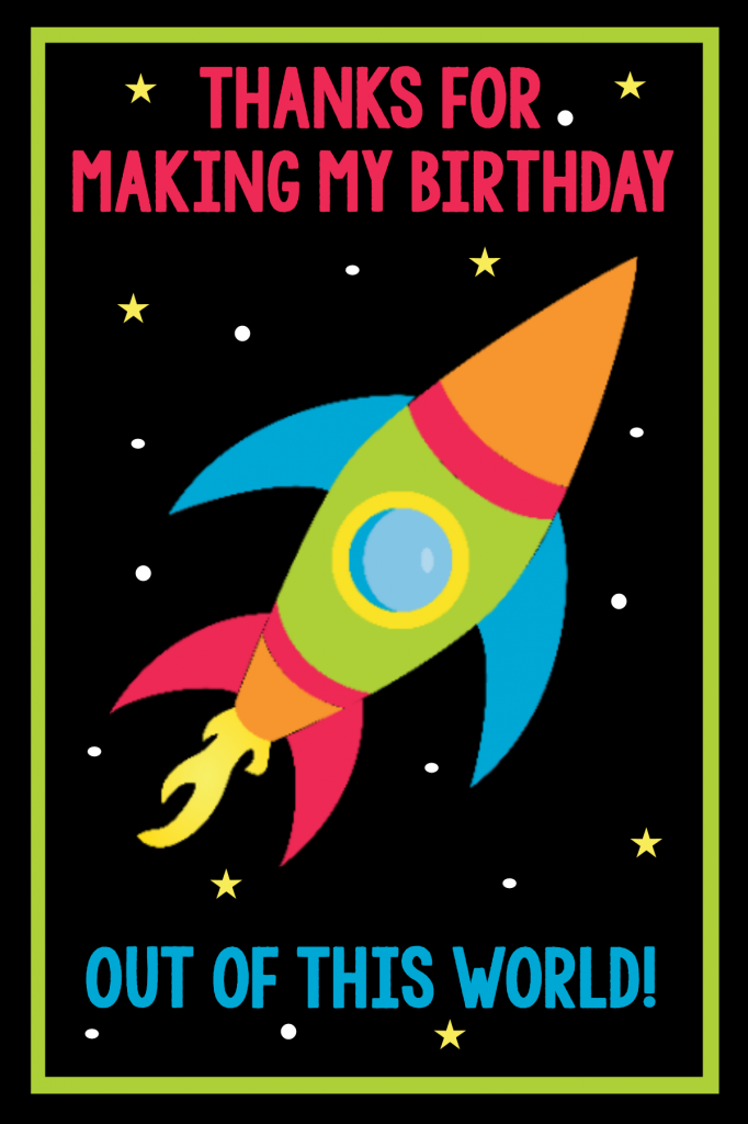 Space Birthday Thank You Cards