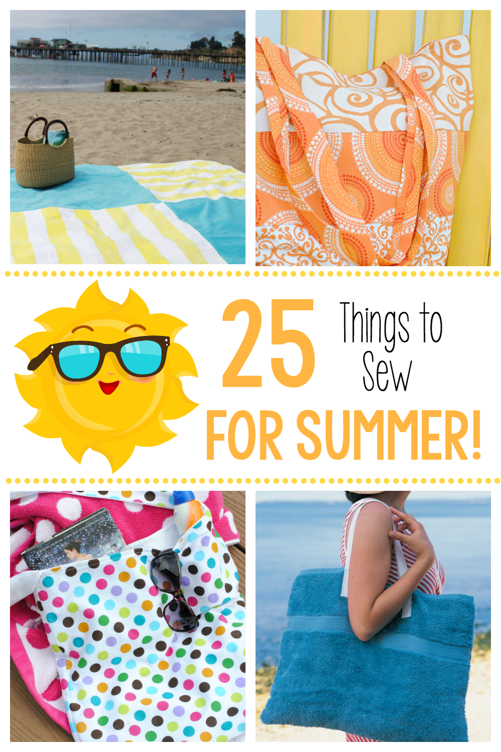25 Fun Things to Sew for Summer-Great Sewing Projects like Beach Totes and towel blankets to sew for your summer fun! #summer #sewing #summersewing #patterns