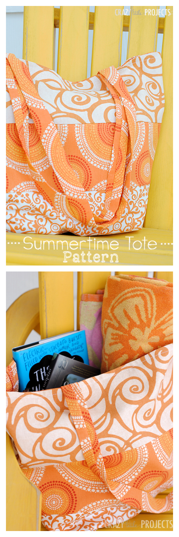 Summertime Tote Bag Pattern-Make this cute bag to take to the pool or to the beach this summer! Easy sewing pattern and great for beginners. #sew #freepatterns