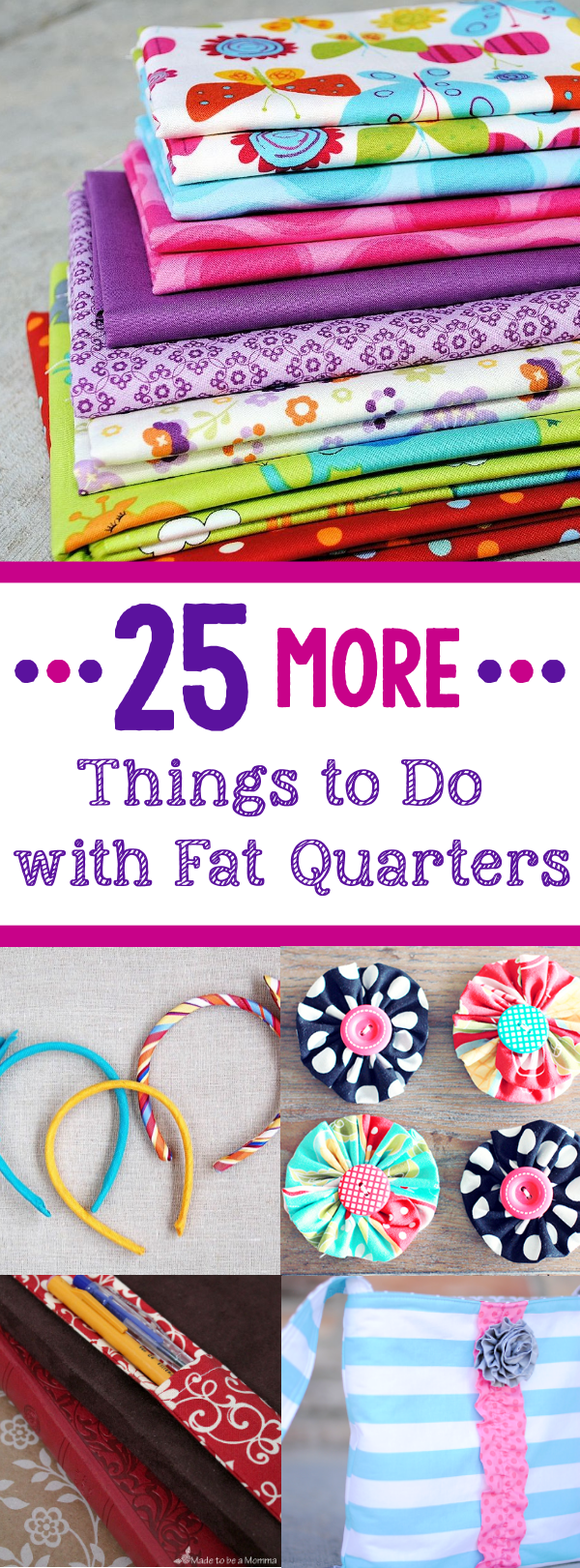 Tons of Ideas of Things to Make with Small Amounts of Fabric Like Fat Quaters #sew #sewing #patterns #crafts