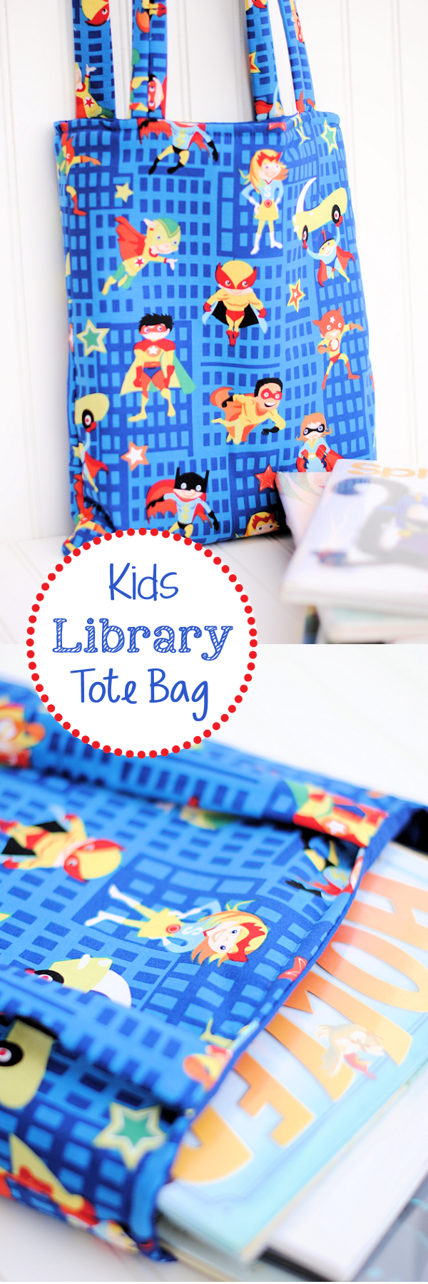 Easy Kids Library Bag Tutorial-This easy kid's tote bag pattern is simple to follow, easy to sew and fun to carry to the library or wherever you are going with the kids! #kids #sew #sewing #pattern #bags #patterns