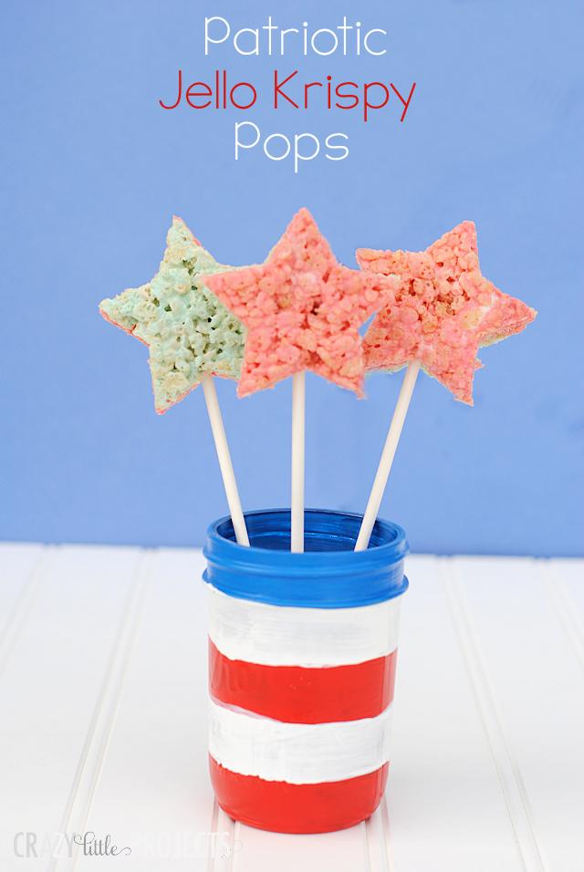 Patriotic Jello Krispy Pops