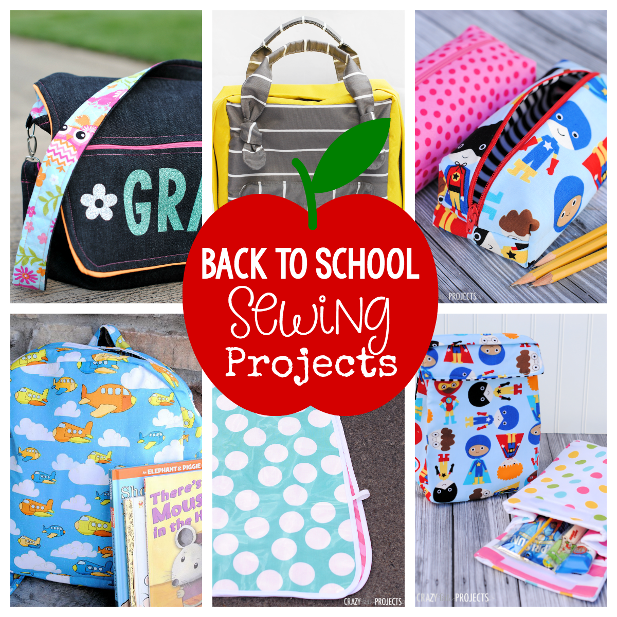 25 Things to Sew for Back to School-From backpacks to lunch boxes, pencil cases to art smocks-fun to sew for the kids! #backtoschool