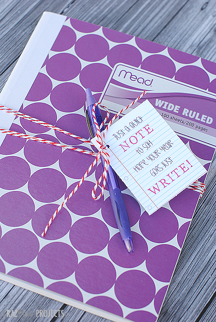 First Day of School Gifts-This cute gift is so simple and great for teachers or students on the first day of school. Just get a cute notebook and add this cute tag. #backtoschool #gifts #giftideas