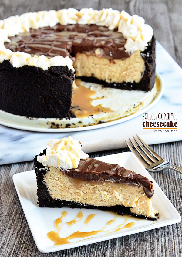 Salted Caramel Cheesecake with Chocolate Ganache at TidyMom.net