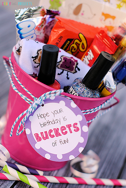 Two fun birthday gift ideas buckets of fun candy Easy gift ideas for friends