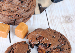 Chocolate Salted Caramel Cookies-Soft and Chewy with a Caramel stuffed inside!