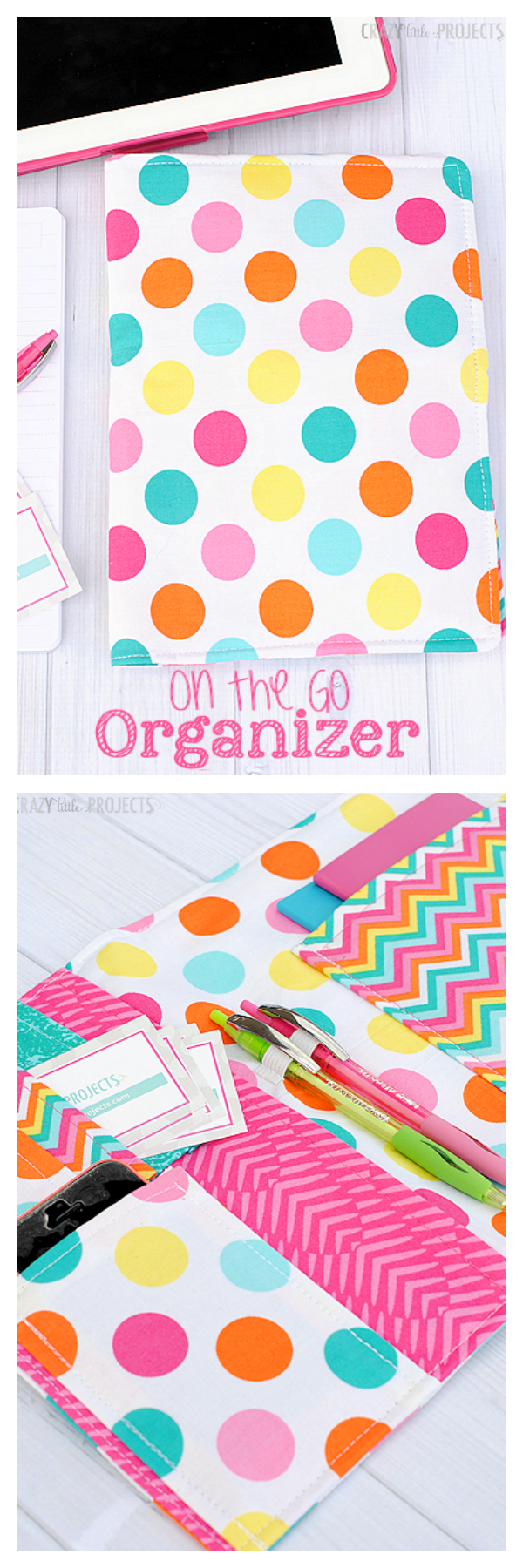 On the Go Organizer-DIY Notebook Cover! Holds notebooks, pens, to do lists cards. phone and everything else you need