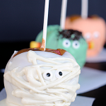 Cute Halloween Caramel Apples: Mummy, Monster and Pumpkin