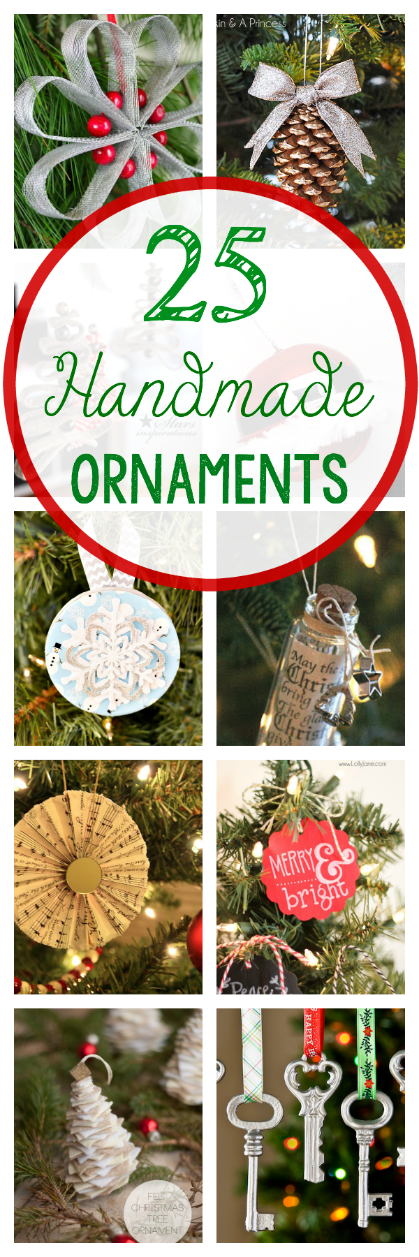 25 DIY Christmas Ornaments to make for your tree this year. These cute DIY Christmas ornaments are perfect to make-whether for the kids or for you. #Christmas #ornaments #crafts