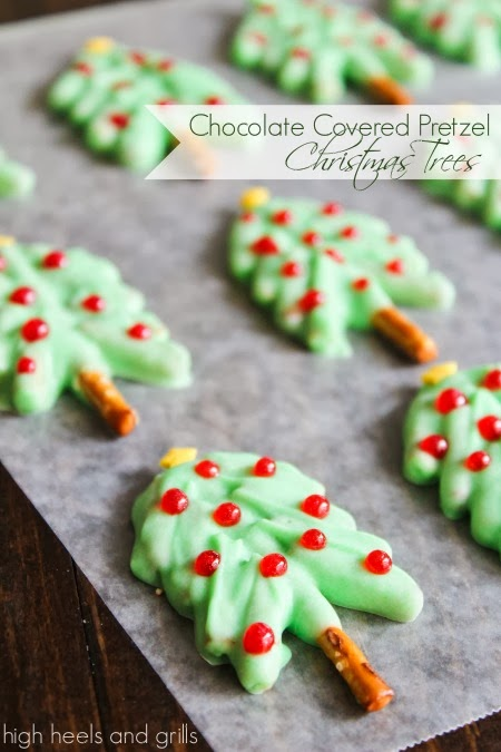 Chocolate Covered Pretzel Christmas Trees #recipe #holiday #treat #nobake httpwww.highheelsandgrills.com201312chocolate-covered-pretzel-christmas.html
