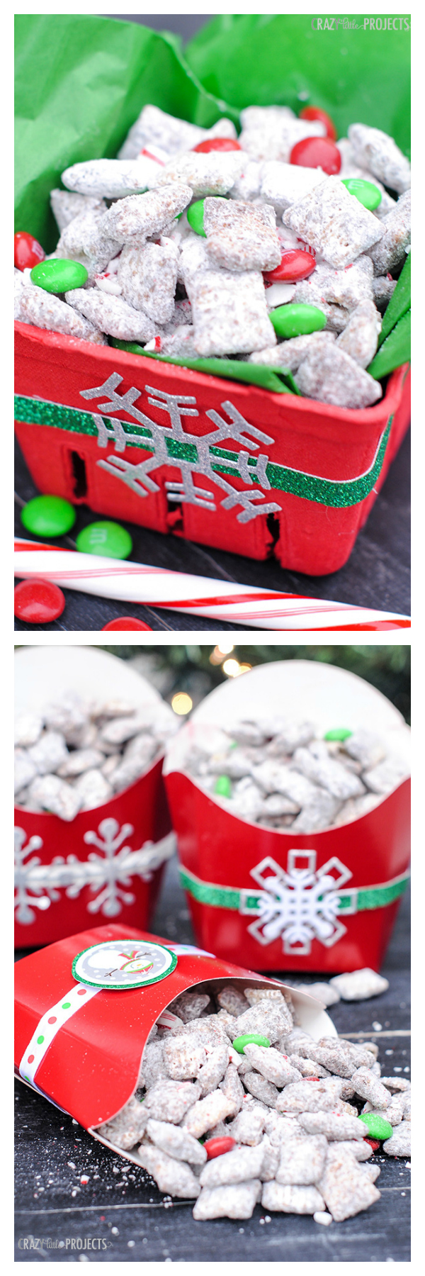 Chocolate Candy Cane Crunch Muddy Buddies and Cute Gift Packaging Ideas-These Christmas muddy buddies are so yummy and make a great gift for Christmas! #dessert #dessertrecipes #christmastreats