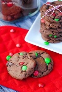 Perfect Double Chocolate Mint Cookies with Christmas M&Ms