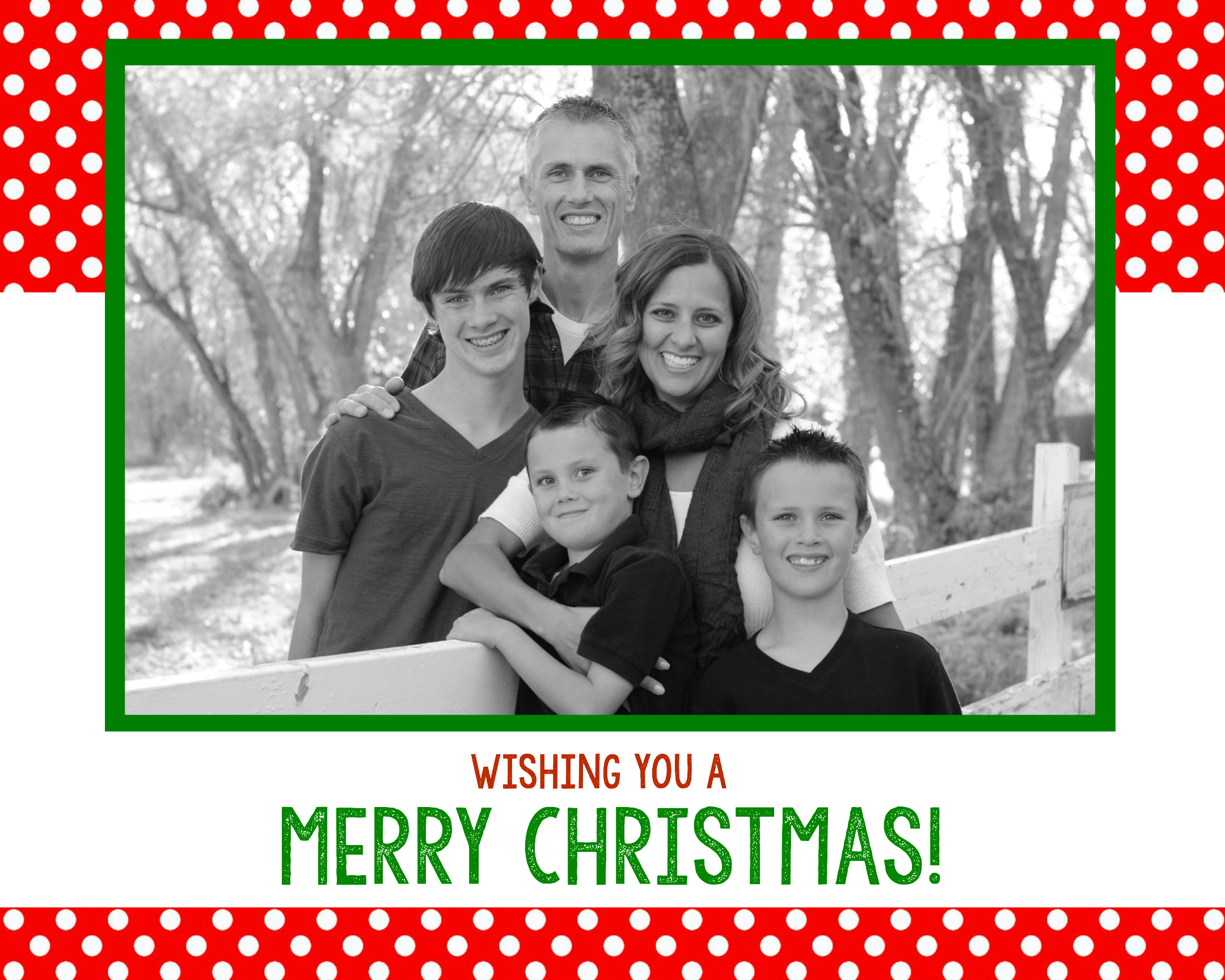 free christmas card template - Family Photo Christmas Cards