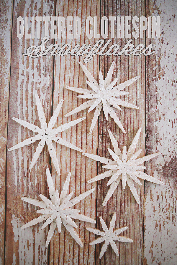 glittered clothespin snowflakes t