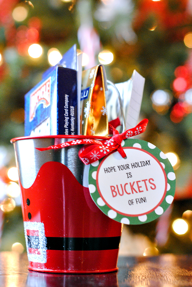 Buckets of Fun Christmas Gift Idea and Printable Tag - 3 Easy Christmas Gift Ideas For Friends - Crazy Little Projects