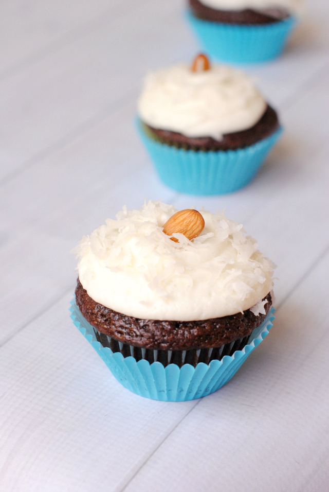 Almond Joy Cupcakes-Chocolate and Coconut Topped with an Almond