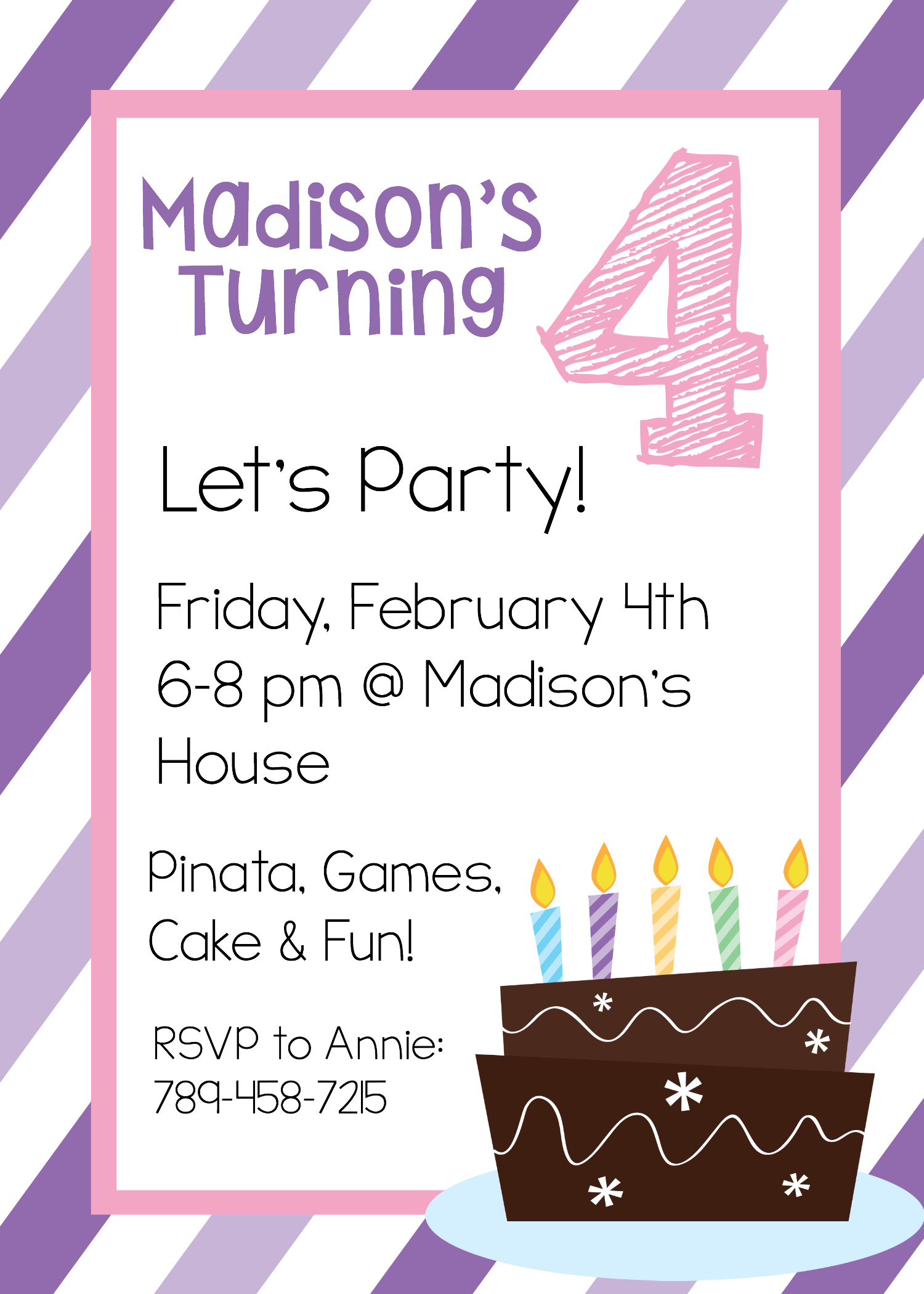 free printable girl birthday party invitations