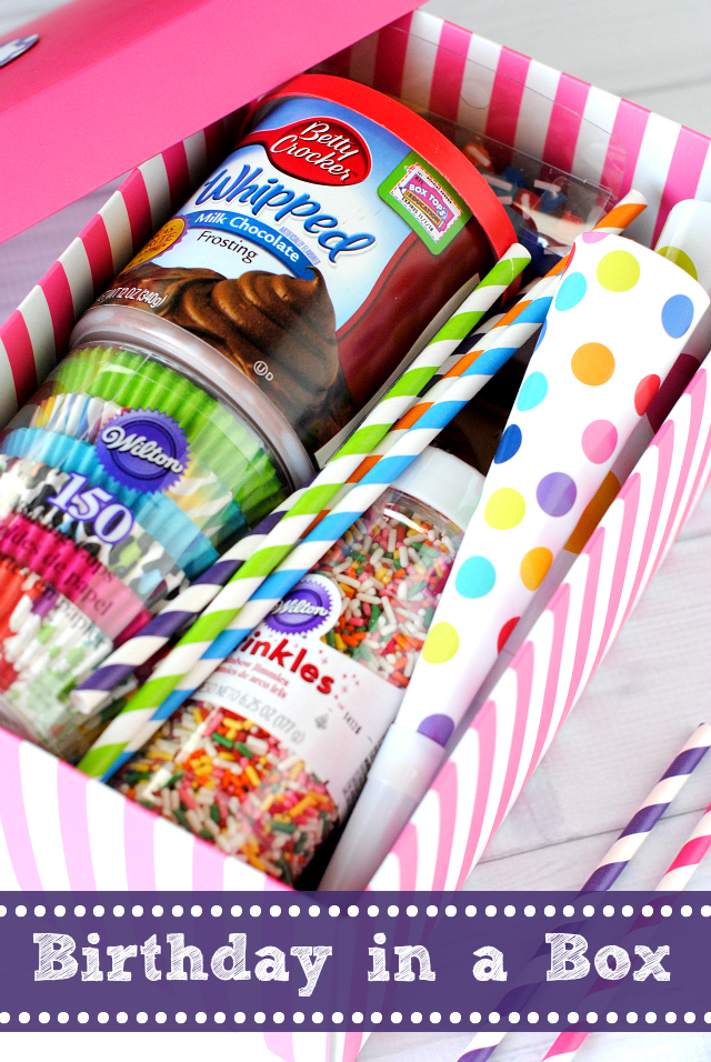 Birthday Box-A fun way to celebrate a birthday even if your friend or family is far away! Fill a box with birthday fun and surprise the birthday boy or girl. #birthday #birthdays #gifts #giftideas