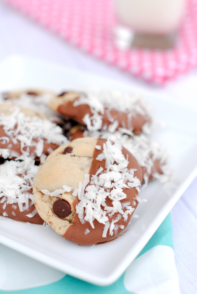 Chocolate Dipped Chocolate Chip Cookies with Coconut